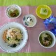 (昼食献立) ・ちらし寿司(じゃこ) ・うざく ・枝豆豆腐 ・茶そば ・やぶれまんじゅう