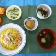 (昼食献立) ・赤魚のちらし寿司 ・茶碗蒸し ・一口茶そば ・清汁(はもとじゅんさい) ・黒糖饅頭