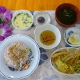 (昼食献立) ・枝豆としらすの梅ごはん ・きすの天ぷら(にがうり) ・茶碗蒸し ・清汁(じゅんさい) ・水まんじゅう(小豆)