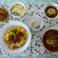(昼食献立) ・ちらし寿司(うなぎ) ・里芋まんじゅうのあんかけ ・茶碗蒸し ・清汁(きのこ) ・やぶれまんじゅう
