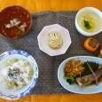 (昼食献立) ・栗ごはん ・魚の煮付け(鯛) ・豆乳の空也蒸し ・えびのお吸い物 ・モンブランケーキ