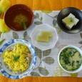 (昼食献立) ・春の混ぜご飯(筍) ・茶碗蒸し ・ごま豆腐 ・清汁(しらす) ・芋ようかん